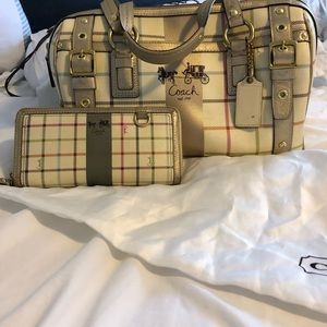 Coach Heritage Tattersall Handbag and Wallet